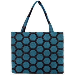 Hexagon2 Black Marble & Teal Leather Mini Tote Bag by trendistuff