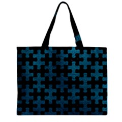 Puzzle1 Black Marble & Teal Leather Zipper Mini Tote Bag by trendistuff