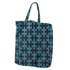 Puzzle1 Black Marble & Teal Leather Giant Grocery Zipper Tote by trendistuff