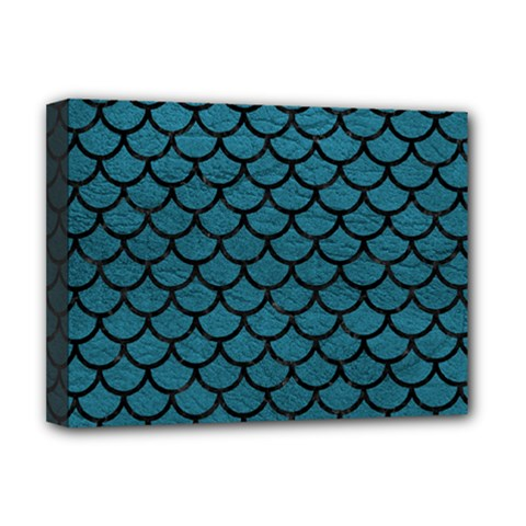 Scales1 Black Marble & Teal Leather Deluxe Canvas 16  X 12   by trendistuff