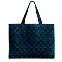 Scales2 Black Marble & Teal Leather Zipper Mini Tote Bag by trendistuff