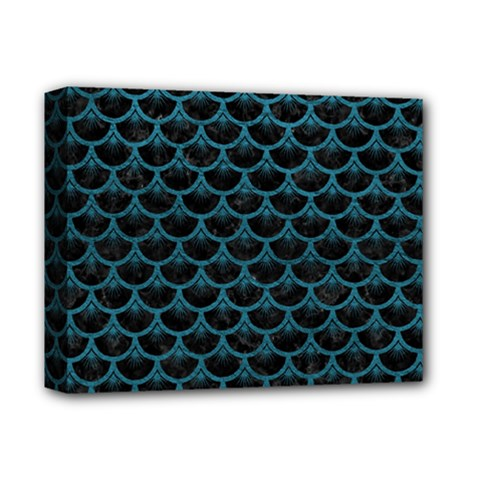 Scales3 Black Marble & Teal Leather (r) Deluxe Canvas 14  X 11  by trendistuff