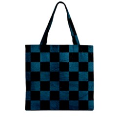 Square1 Black Marble & Teal Leather Zipper Grocery Tote Bag by trendistuff
