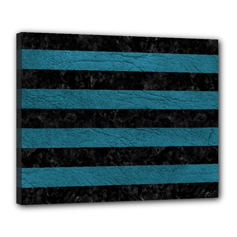 Stripes2 Black Marble & Teal Leather Canvas 20  X 16  by trendistuff