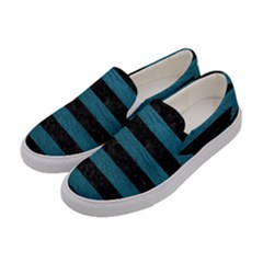 Stripes2 Black Marble & Teal Leather Women s Canvas Slip Ons by trendistuff
