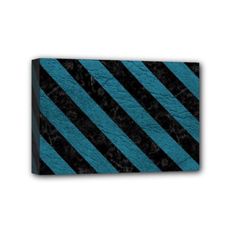 Stripes3 Black Marble & Teal Leather Mini Canvas 6  X 4  by trendistuff