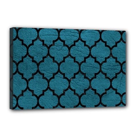 Tile1 Black Marble & Teal Leather Canvas 18  X 12  by trendistuff