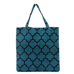 Tile1 Black Marble & Teal Leather Grocery Tote Bag by trendistuff