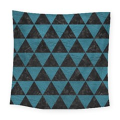 Triangle3 Black Marble & Teal Leather Square Tapestry (large) by trendistuff