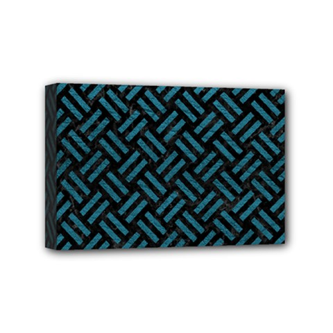Woven2 Black Marble & Teal Leather (r) Mini Canvas 6  X 4  by trendistuff