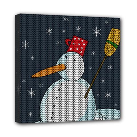Snowman Mini Canvas 8  X 8  by Valentinaart
