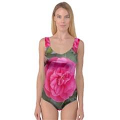 Pink Flower Japanese Tea Rose Floral Design Princess Tank Leotard  by yoursparklingshop