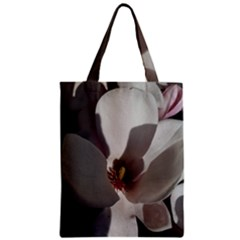 Magnolia Floral Flower Pink White Zipper Classic Tote Bag by yoursparklingshop