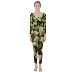 Cheese And Peppers Green Yellow Funny Design Long Sleeve Catsuit by yoursparklingshop