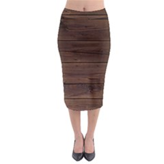 Rustic Dark Brown Wood Wooden Fence Background Elegant Midi Pencil Skirt by yoursparklingshop