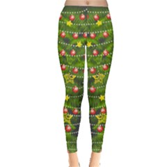 Olive Christmas Tree With Ornaments Leggings  by PattyVilleDesigns