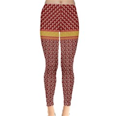Dark Red Christmas Candy Cane Pattern Leggings  by PattyVilleDesigns
