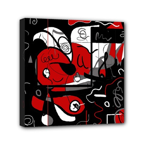 Red Black And White Abstraction Mini Canvas 6  X 6  by Valentinaart