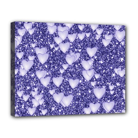 Hearts On Sparkling Glitter Print, Blue Canvas 14  X 11  by MoreColorsinLife
