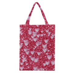 Hearts On Sparkling Glitter Print, Red Classic Tote Bag by MoreColorsinLife