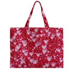 Hearts On Sparkling Glitter Print, Red Medium Tote Bag by MoreColorsinLife