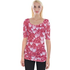 Hearts On Sparkling Glitter Print, Red Wide Neckline Tee by MoreColorsinLife
