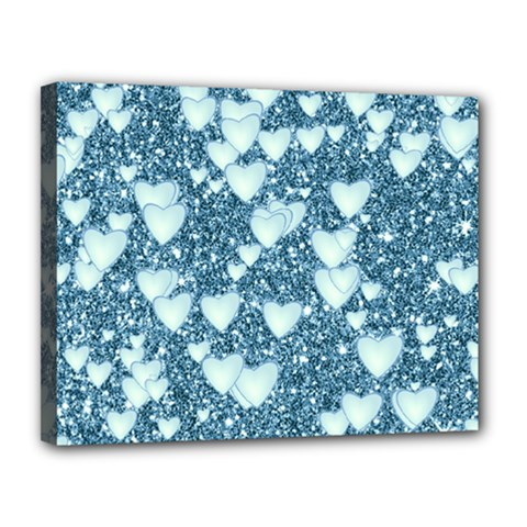 Hearts On Sparkling Glitter Print, Teal Canvas 14  X 11  by MoreColorsinLife