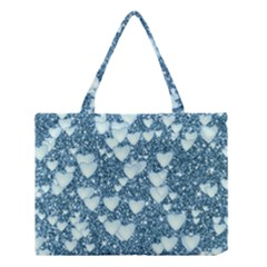 Hearts On Sparkling Glitter Print, Teal Medium Tote Bag by MoreColorsinLife