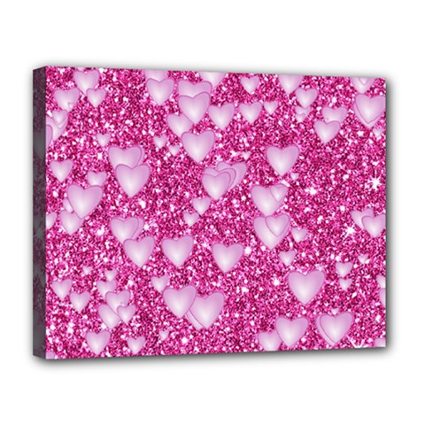 Hearts On Sparkling Glitter Print, Pink Canvas 14  X 11  by MoreColorsinLife