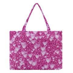 Hearts On Sparkling Glitter Print, Pink Medium Tote Bag by MoreColorsinLife