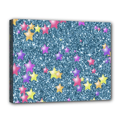 Stars On Sparkling Glitter Print, Blue Canvas 14  X 11  by MoreColorsinLife
