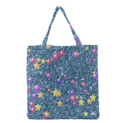 Stars On Sparkling Glitter Print, Blue Grocery Tote Bag by MoreColorsinLife