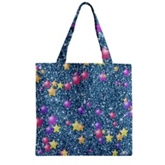 Stars On Sparkling Glitter Print, Blue Zipper Grocery Tote Bag by MoreColorsinLife