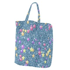 Stars On Sparkling Glitter Print, Blue Giant Grocery Zipper Tote by MoreColorsinLife