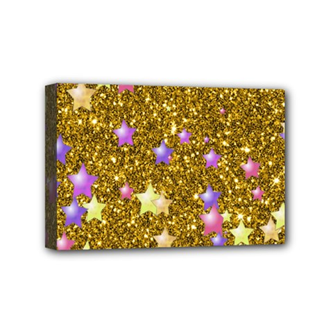Stars On Sparkling Glitter Print,golden Mini Canvas 6  X 4  by MoreColorsinLife