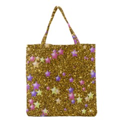 Stars On Sparkling Glitter Print,golden Grocery Tote Bag by MoreColorsinLife