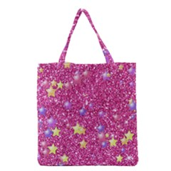 Stars On Sparkling Glitter Print,pink Grocery Tote Bag by MoreColorsinLife