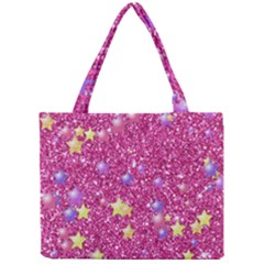 Stars On Sparkling Glitter Print,pink Mini Tote Bag by MoreColorsinLife