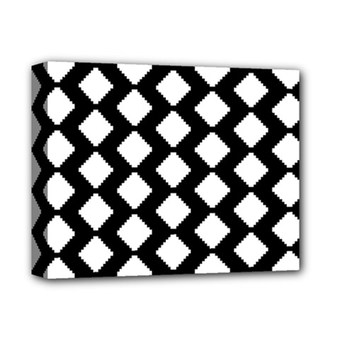 Abstract Tile Pattern Black White Triangle Plaid Deluxe Canvas 14  X 11  by Alisyart