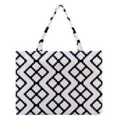 Abstract Tile Pattern Black White Triangle Plaid Chevron Medium Tote Bag by Alisyart