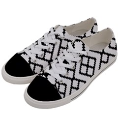 Abstract Tile Pattern Black White Triangle Plaid Chevron Women s Low Top Canvas Sneakers by Alisyart