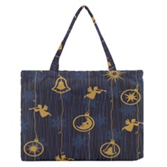 Christmas Angelsstar Yellow Blue Cool Zipper Medium Tote Bag by Alisyart