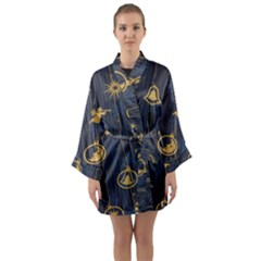 Christmas Angelsstar Yellow Blue Cool Long Sleeve Kimono Robe by Alisyart