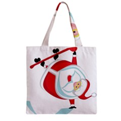 Christmas Santa Claus Snow Sky Playing Zipper Grocery Tote Bag by Alisyart