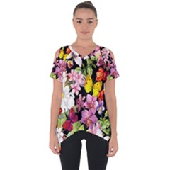 Beautiful,floral,hand Painted, Flowers,black,background,modern,trendy,girly,retro Cut Out Side Drop Tee by 8fugoso