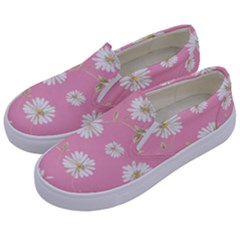 Pink Flowers Kids  Canvas Slip Ons by 8fugoso
