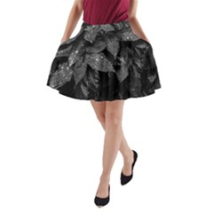 Black And White Leaves Photo A Line Pocket Skirt by dflcprintsclothing