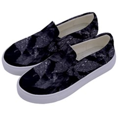 Black And White Leaves Photo Kids  Canvas Slip Ons by dflcprintsclothing