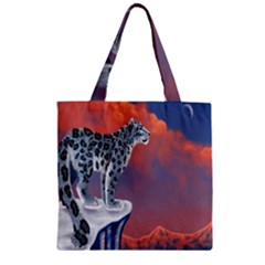 Lion Tigel Chetah Animals Snow Moon Blue Sky Zipper Grocery Tote Bag by Alisyart