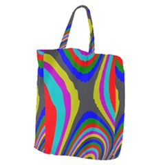 Pattern Rainbow Colorfull Wave Chevron Waves Giant Grocery Zipper Tote by Alisyart